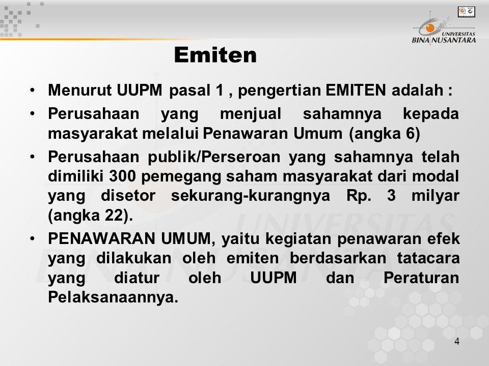 Emiten Menurut UUPM pasal 1 , pengertian EMITEN adalah :