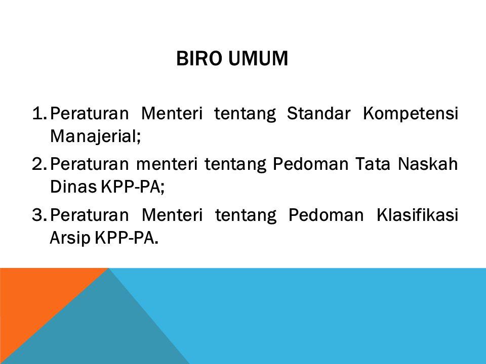 BIRO UMUM Peraturan Menteri tentang Standar Kompetensi Manajerial;