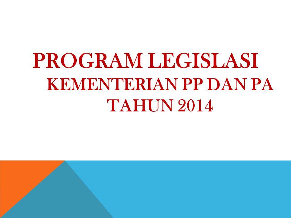 PROGRAM LEGISLASI KEMENTERIAN PP DAN PA TAHUN 2014