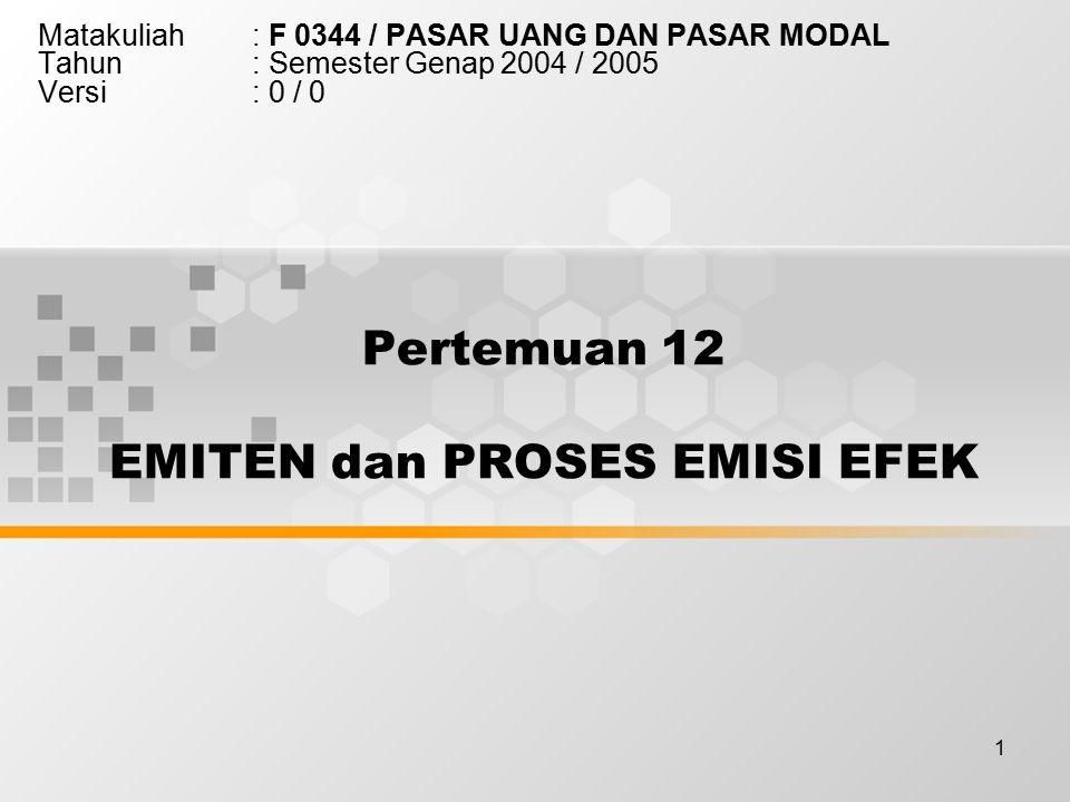 Pertemuan 12 EMITEN dan PROSES EMISI EFEK
