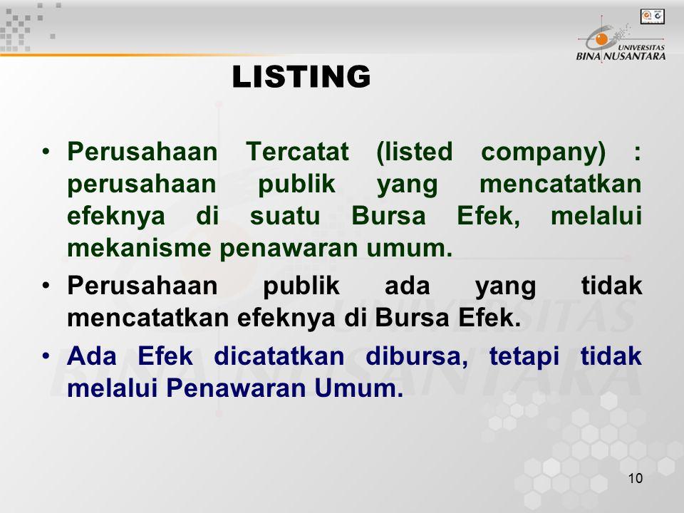 LISTING Perusahaan Tercatat (listed company) : perusahaan publik yang mencatatkan efeknya di suatu Bursa Efek, melalui mekanisme penawaran umum.