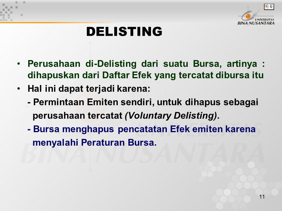 DELISTING Perusahaan di-Delisting dari suatu Bursa, artinya : dihapuskan dari Daftar Efek yang tercatat dibursa itu.