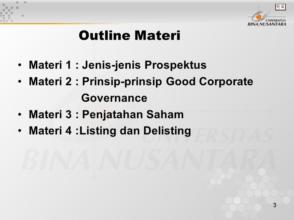 Outline Materi Materi 1 : Jenis-jenis Prospektus