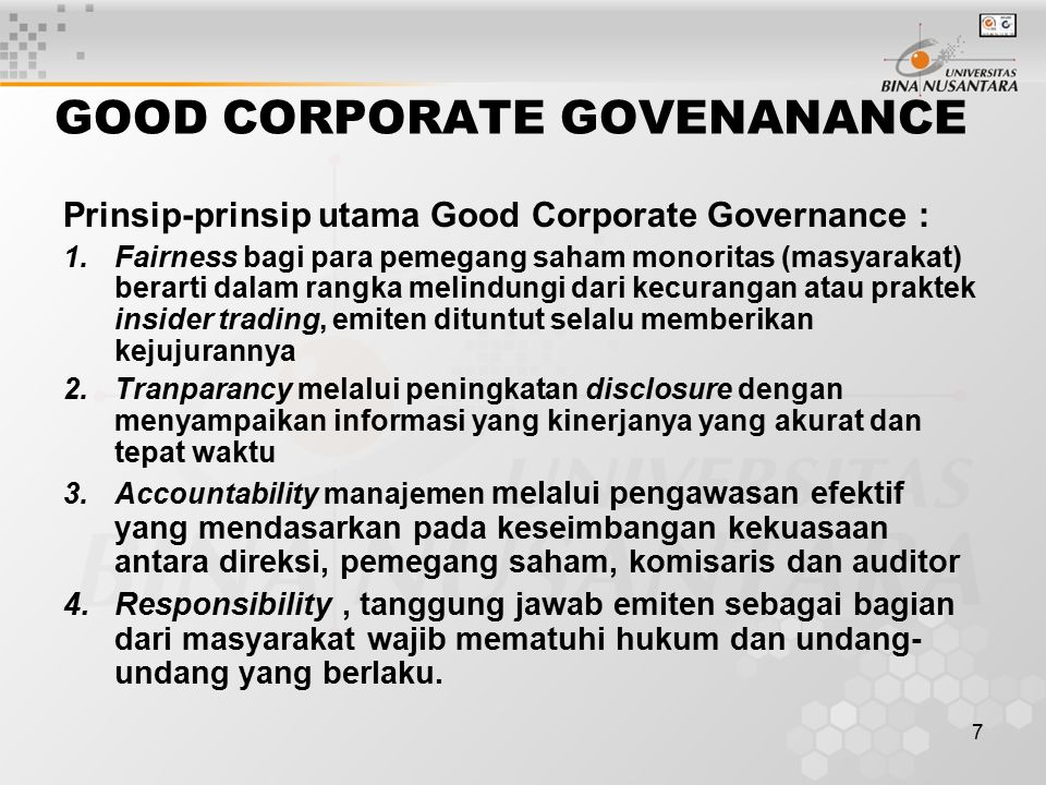 GOOD CORPORATE GOVENANANCE
