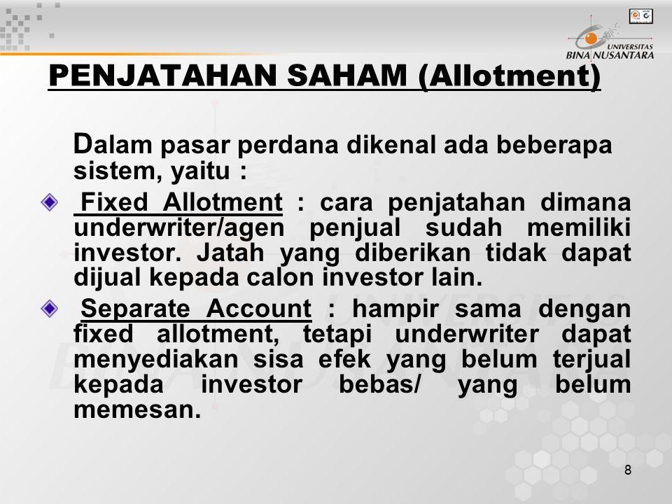 PENJATAHAN SAHAM (Allotment)