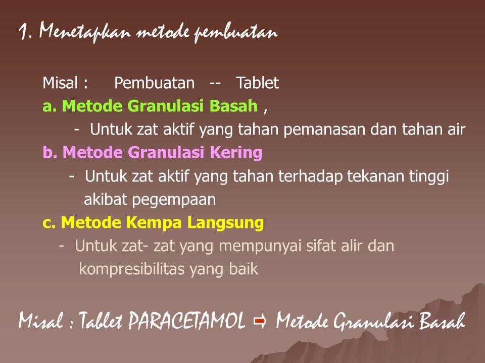 1. Menetapkan metode pembuatan