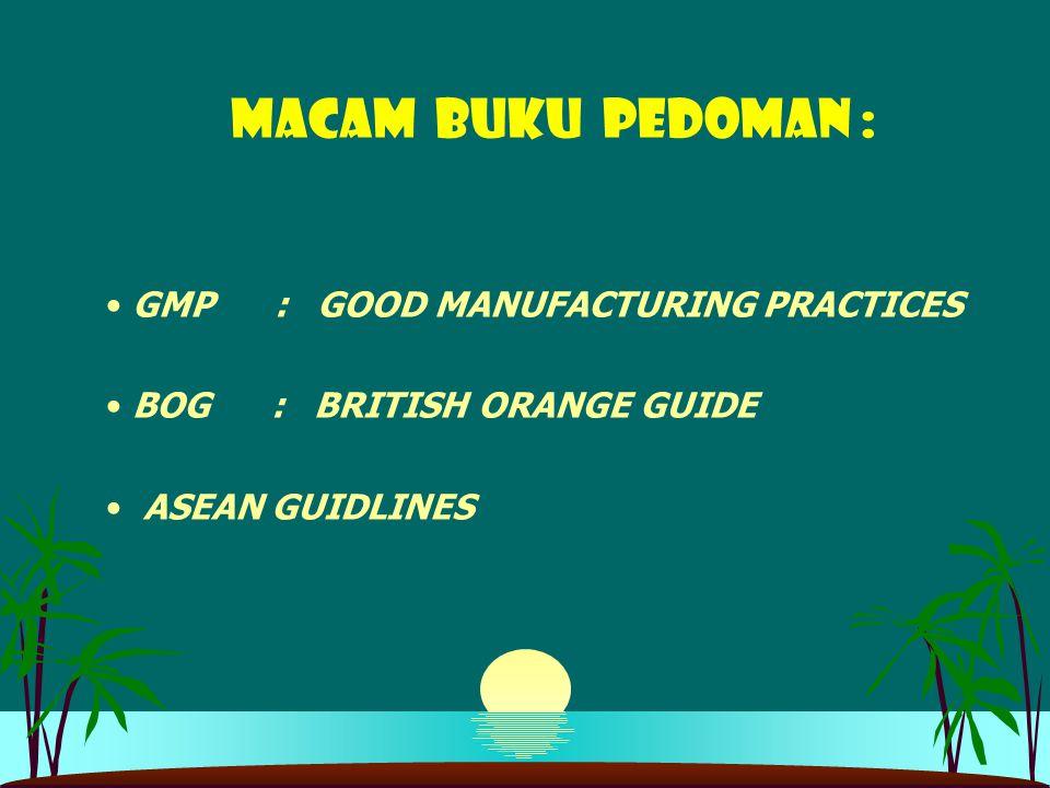 MACAM BUKU PEDOMAN : GMP : GOOD MANUFACTURING PRACTICES