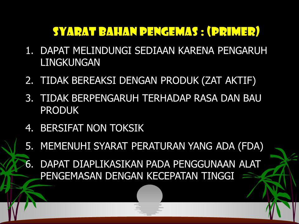 SYARAT BAHAN PENGEMAS : (PRIMER)
