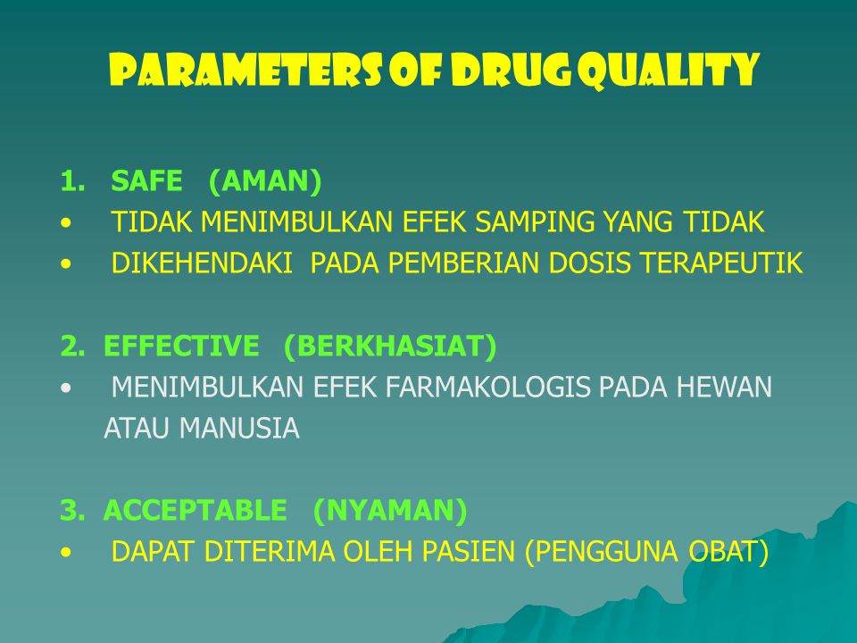 PARAMETERS OF DRUG QUALITY