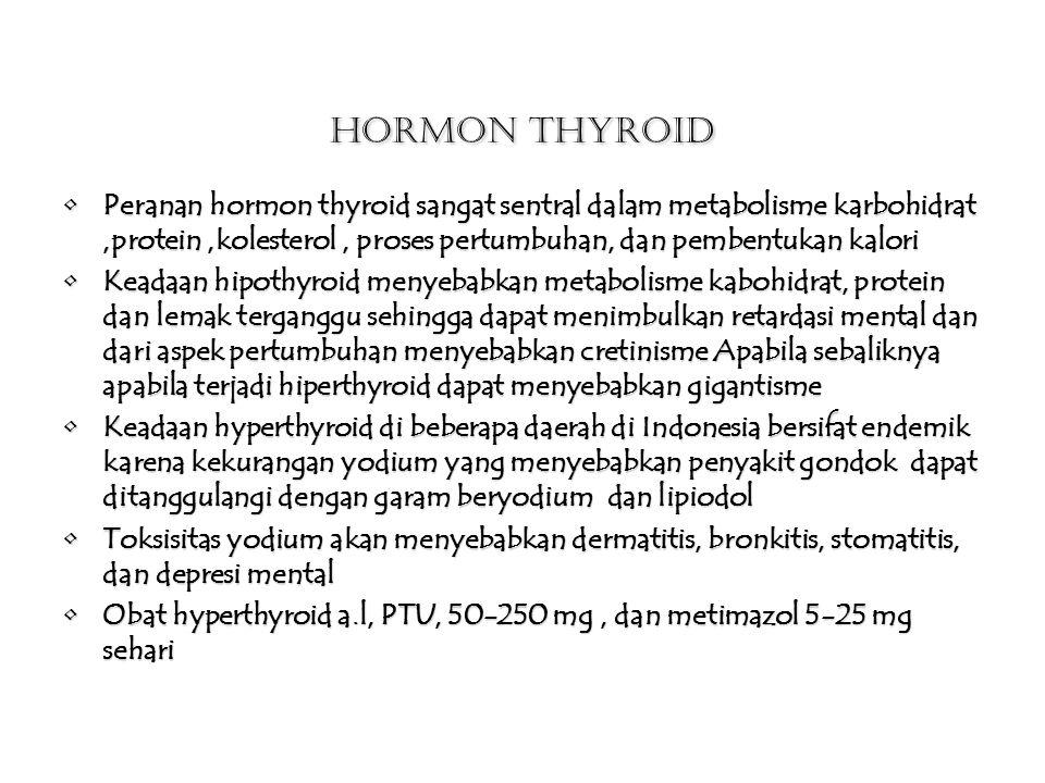 Hormon Thyroid Peranan hormon thyroid sangat sentral dalam metabolisme karbohidrat ,protein ,kolesterol , proses pertumbuhan, dan pembentukan kalori.