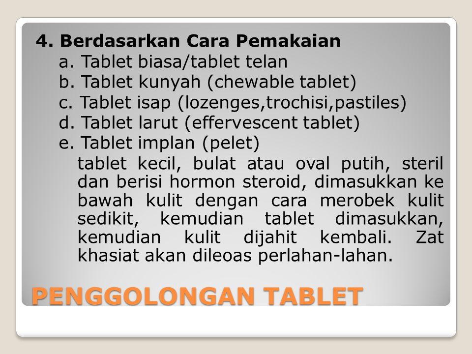 4. Berdasarkan Cara Pemakaian a. Tablet biasa/tablet telan b