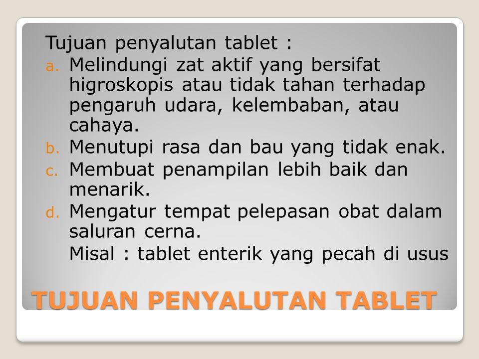 TUJUAN PENYALUTAN TABLET