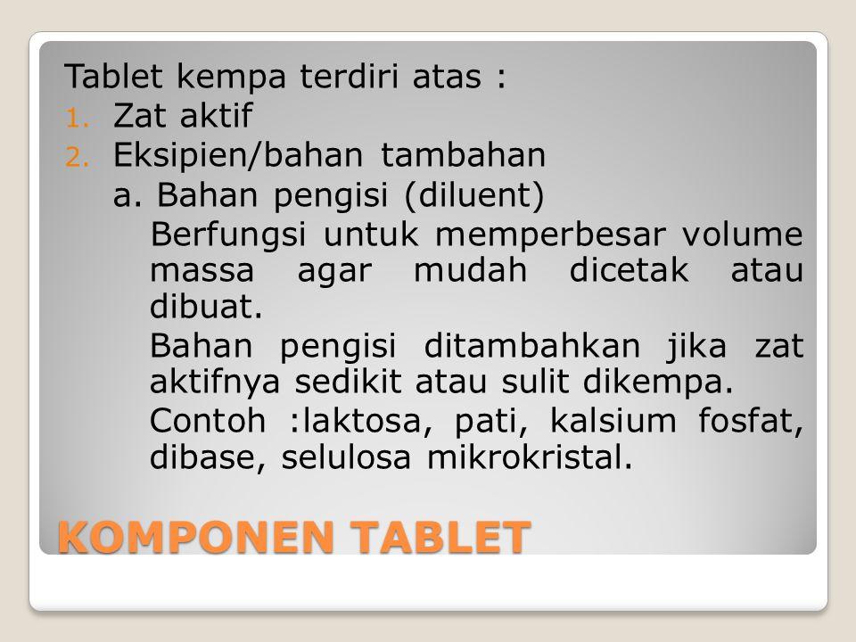 KOMPONEN TABLET Tablet kempa terdiri atas : Zat aktif
