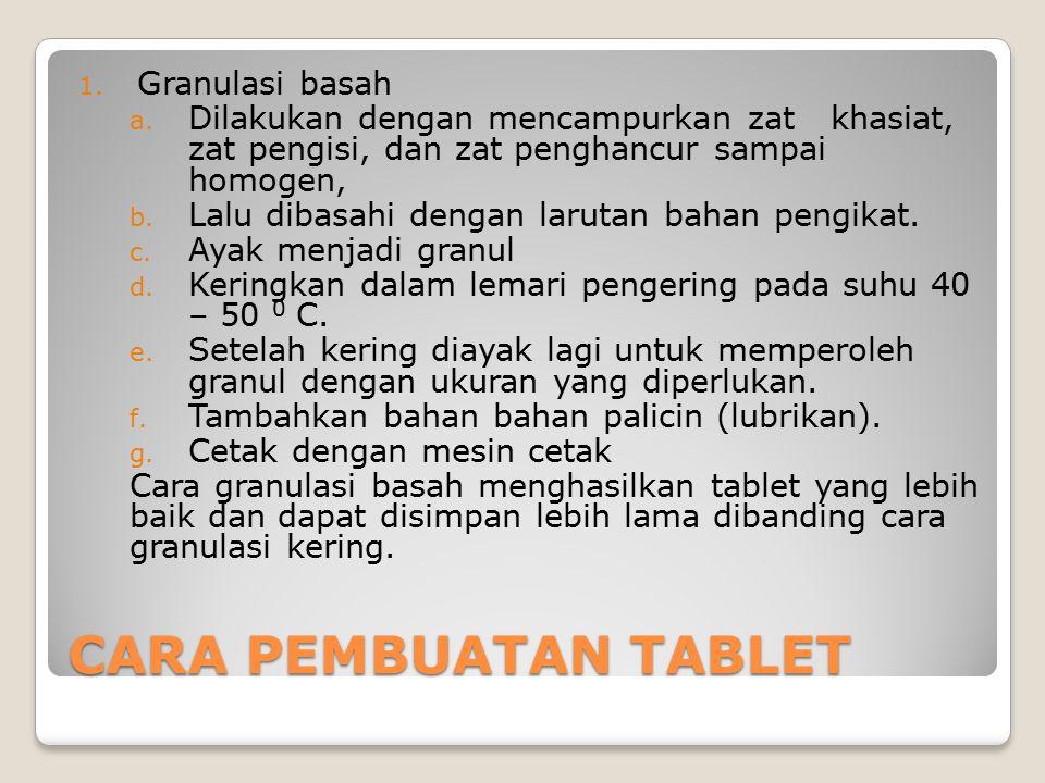 CARA PEMBUATAN TABLET Granulasi basah