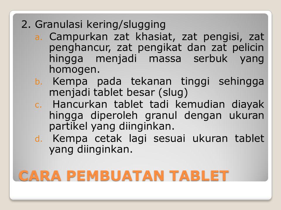 CARA PEMBUATAN TABLET 2. Granulasi kering/slugging