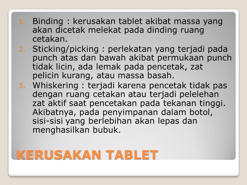 Binding : kerusakan tablet akibat massa yang akan dicetak melekat pada dinding ruang cetakan.