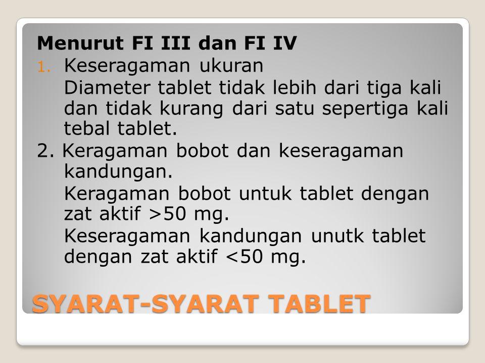 SYARAT-SYARAT TABLET Menurut FI III dan FI IV Keseragaman ukuran