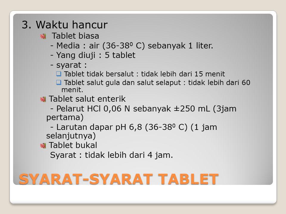 SYARAT-SYARAT TABLET 3. Waktu hancur Tablet biasa