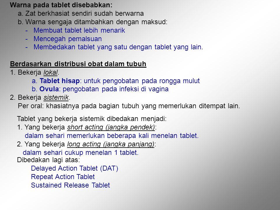 Warna pada tablet disebabkan: