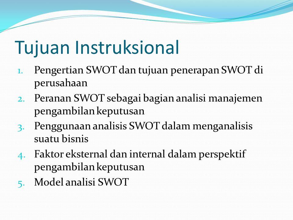 Tujuan Instruksional Pengertian SWOT dan tujuan penerapan SWOT di perusahaan. Peranan SWOT sebagai bagian analisi manajemen pengambilan keputusan.