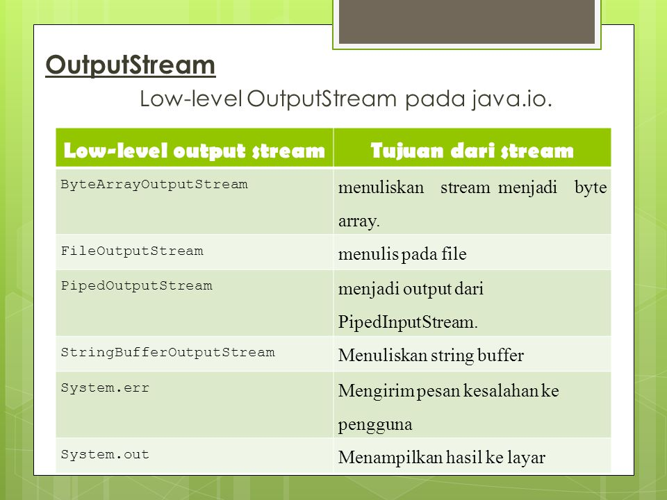 Low-level output stream