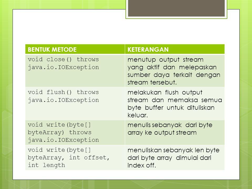 BENTUK METODE KETERANGAN. void close() throws java.io.IOException.