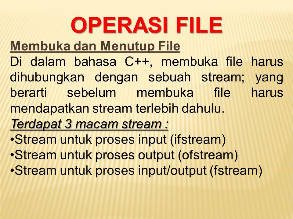 OPERASI FILE Membuka dan Menutup File