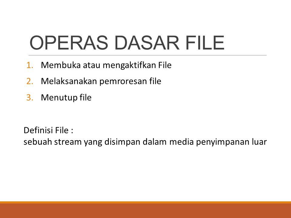 OPERAS DASAR FILE Membuka atau mengaktifkan File