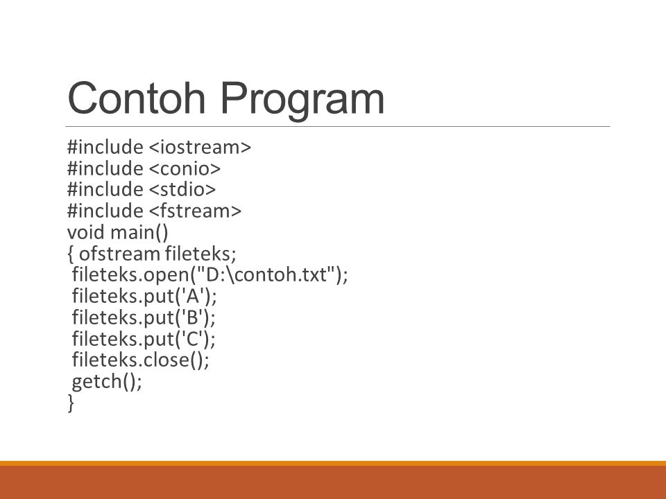 Contoh Program #include <iostream> #include <conio>