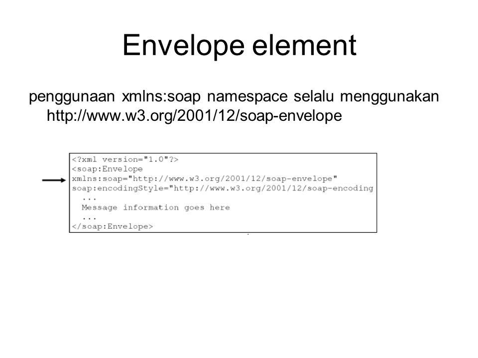 Envelope element penggunaan xmlns:soap namespace selalu menggunakan http://www.w3.org/2001/12/soap-envelope.