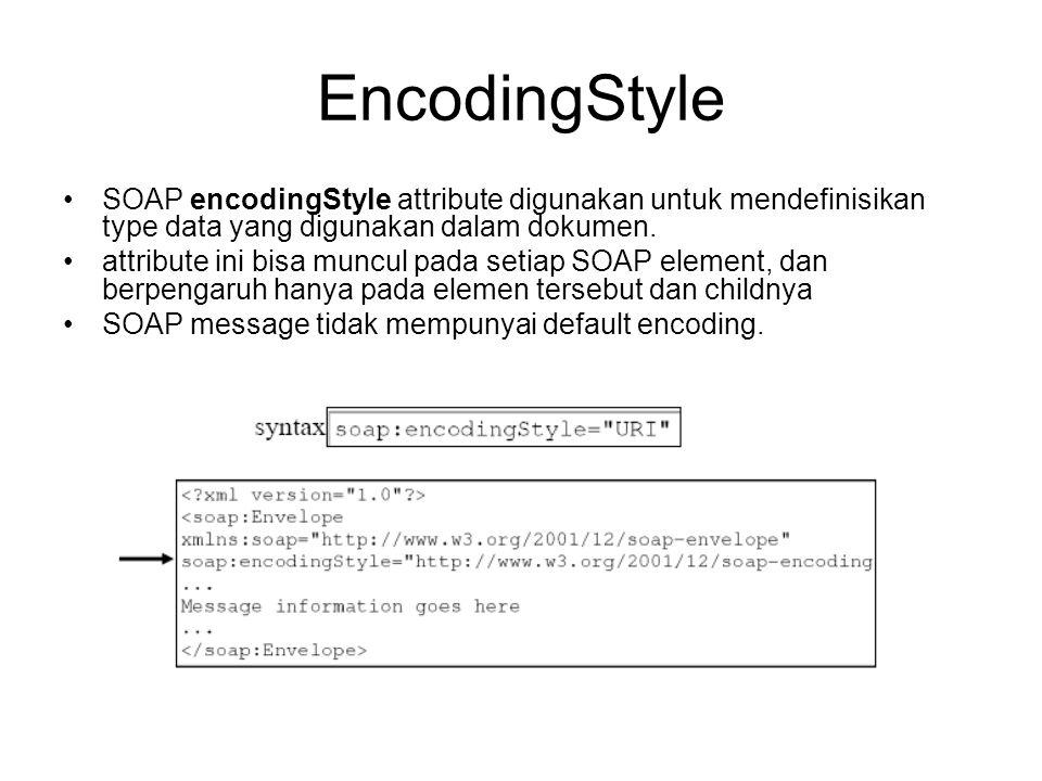 EncodingStyle SOAP encodingStyle attribute digunakan untuk mendefinisikan type data yang digunakan dalam dokumen.