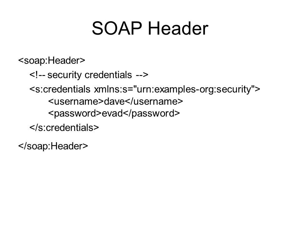 SOAP Header <soap:Header> <!-- security credentials -->