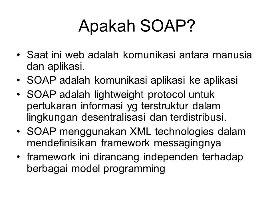 Apakah SOAP Saat ini web adalah komunikasi antara manusia dan aplikasi. SOAP adalah komunikasi aplikasi ke aplikasi.