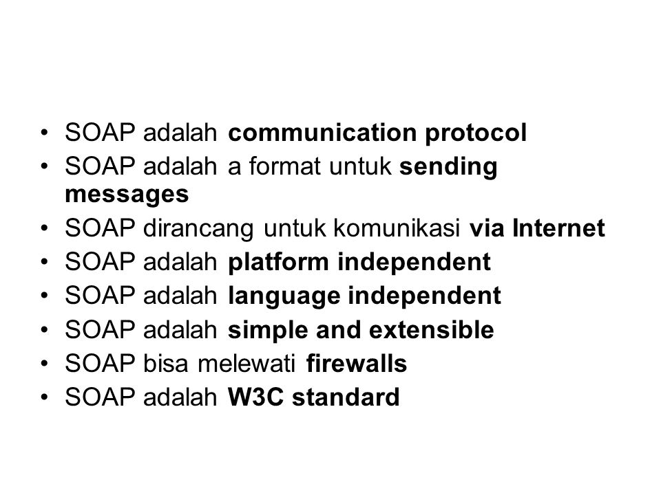 SOAP adalah communication protocol