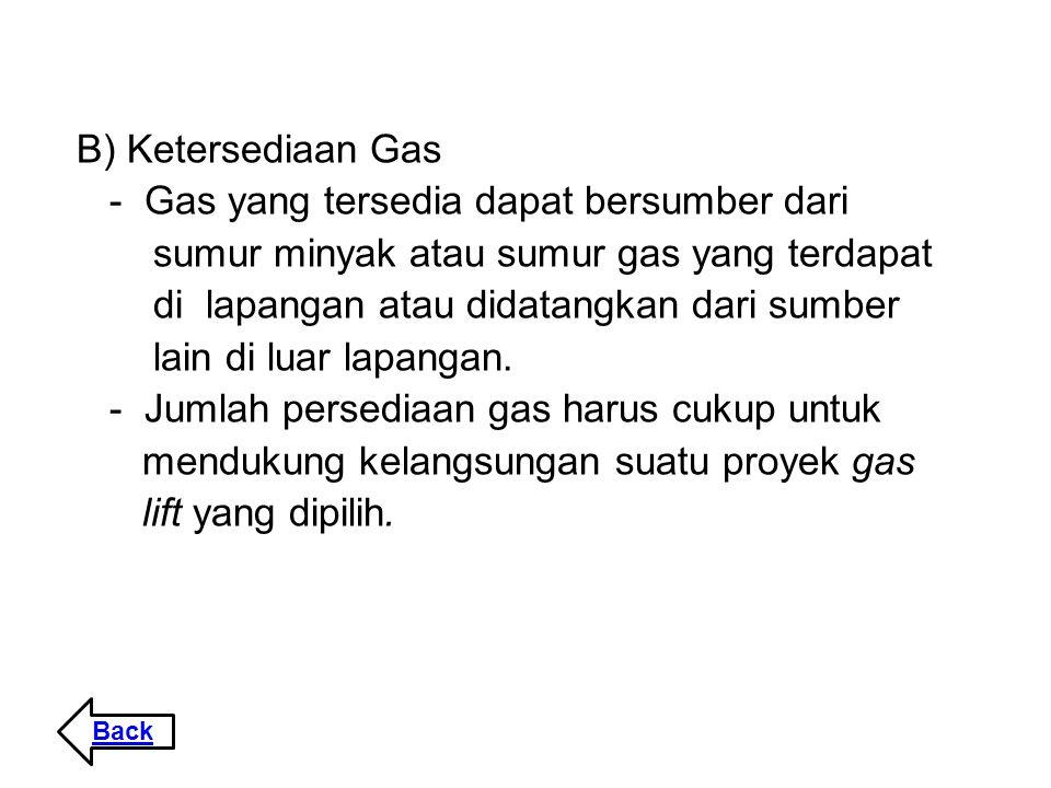 - Gas yang tersedia dapat bersumber dari