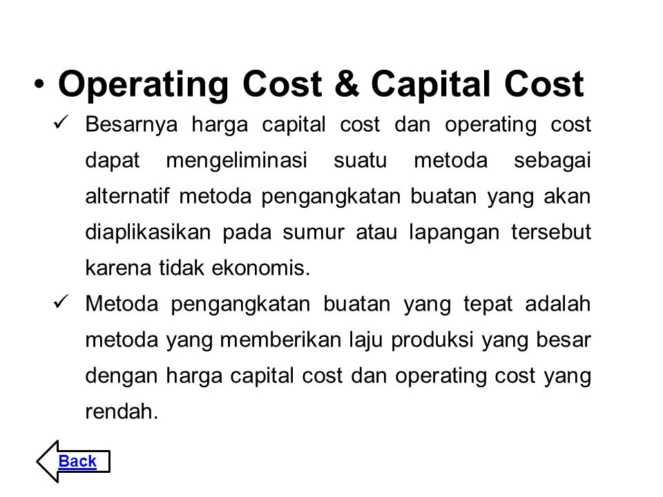 Operating Cost & Capital Cost