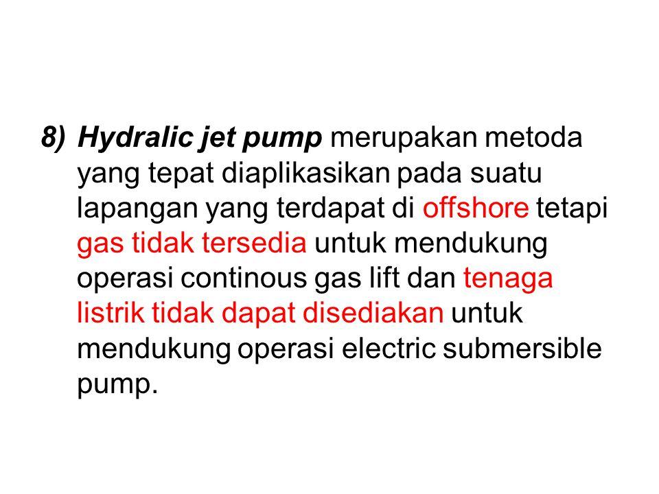 Hydralic jet pump merupakan metoda yang tepat diaplikasikan pada suatu lapangan yang terdapat di offshore tetapi gas tidak tersedia untuk mendukung operasi continous gas lift dan tenaga listrik tidak dapat disediakan untuk mendukung operasi electric submersible pump.