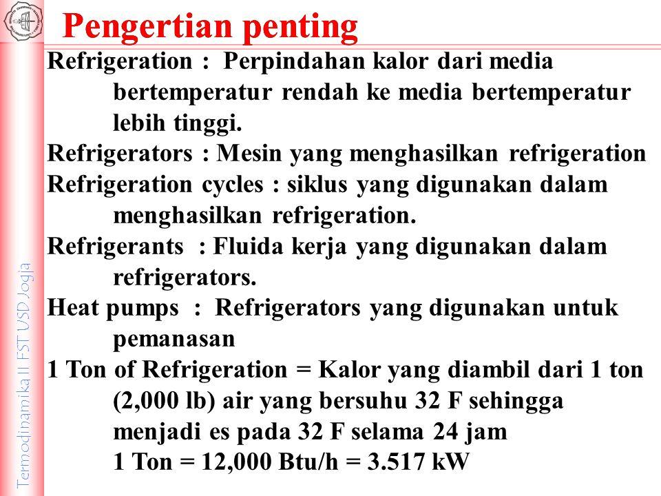 Pengertian penting Refrigeration : Perpindahan kalor dari media bertemperatur rendah ke media bertemperatur lebih tinggi.