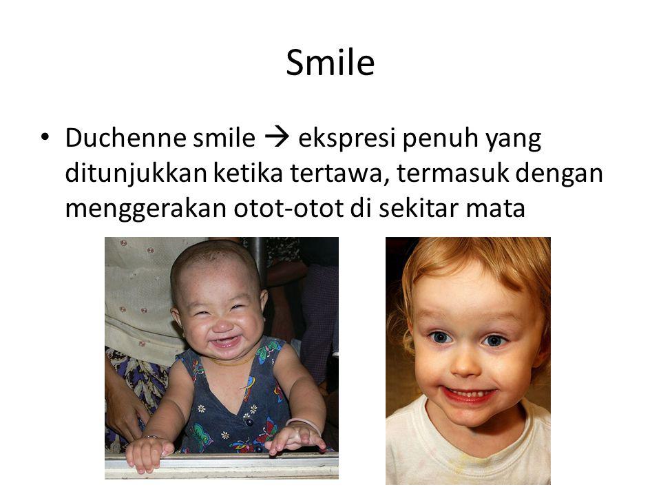 Smile Duchenne smile  ekspresi penuh yang ditunjukkan ketika tertawa, termasuk dengan menggerakan otot-otot di sekitar mata.