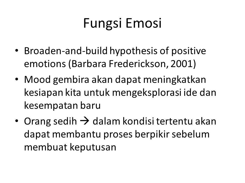 Fungsi Emosi Broaden-and-build hypothesis of positive emotions (Barbara Frederickson, 2001)