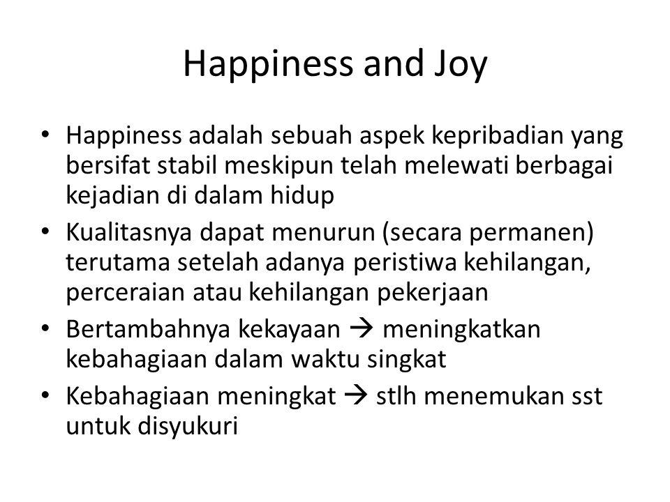 Happiness and Joy Happiness adalah sebuah aspek kepribadian yang bersifat stabil meskipun telah melewati berbagai kejadian di dalam hidup.