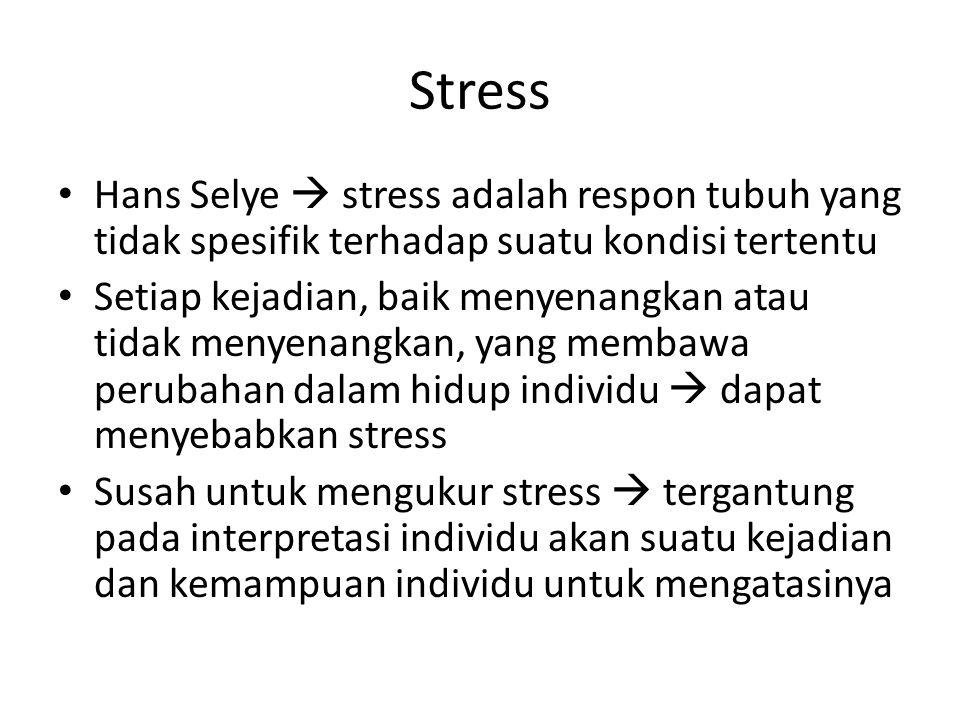 Stress Hans Selye  stress adalah respon tubuh yang tidak spesifik terhadap suatu kondisi tertentu.
