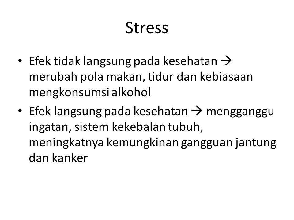 Stress Efek tidak langsung pada kesehatan  merubah pola makan, tidur dan kebiasaan mengkonsumsi alkohol.