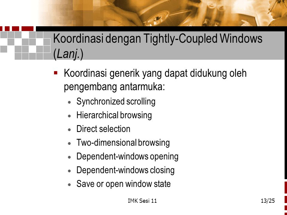 Koordinasi dengan Tightly-Coupled Windows (Lanj.)