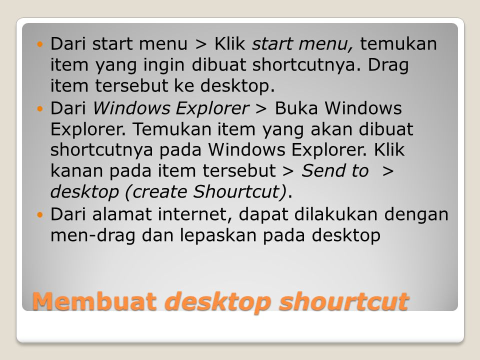 Membuat desktop shourtcut