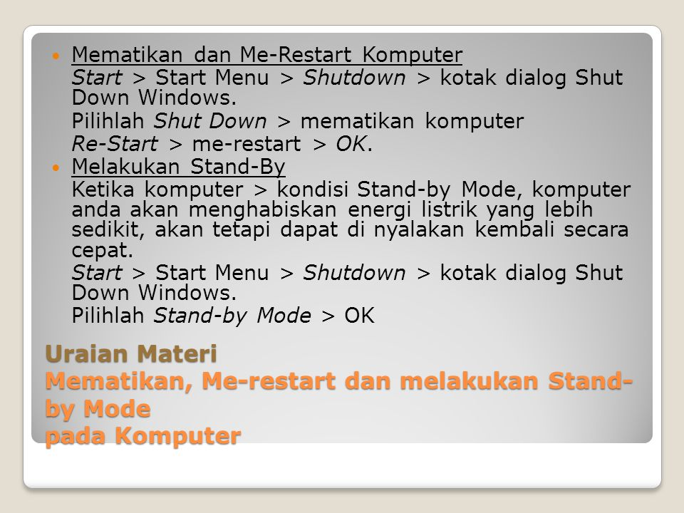 Mematikan dan Me-Restart Komputer