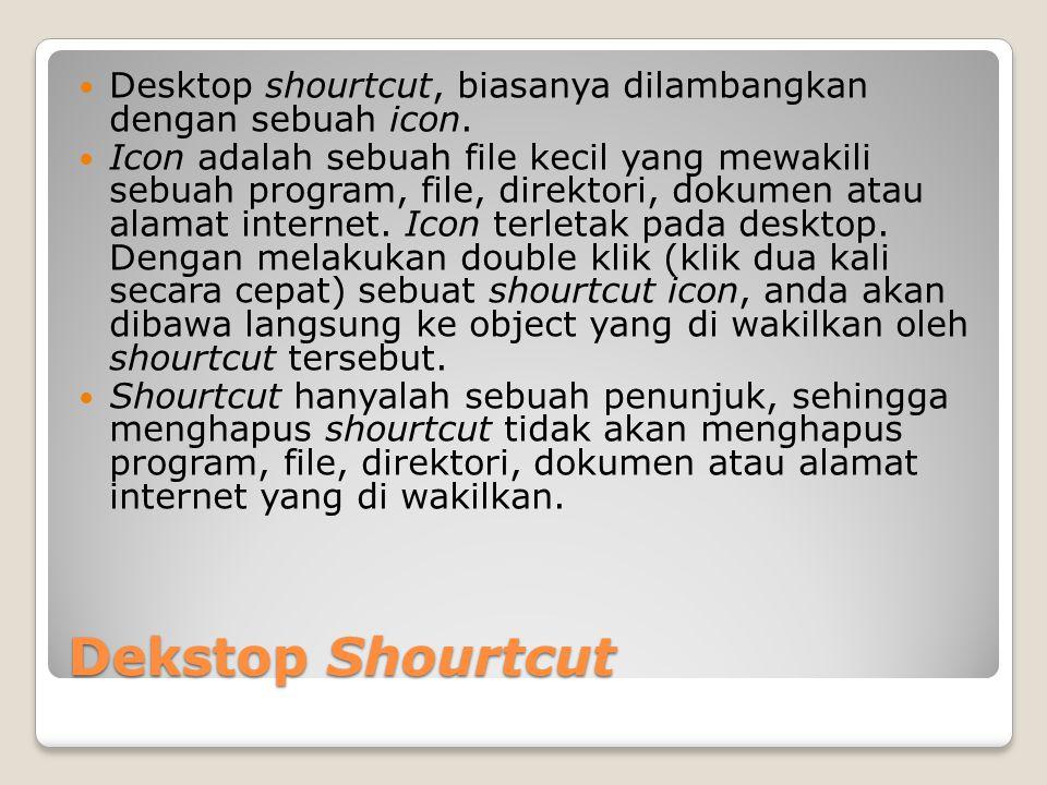 Desktop shourtcut, biasanya dilambangkan dengan sebuah icon.