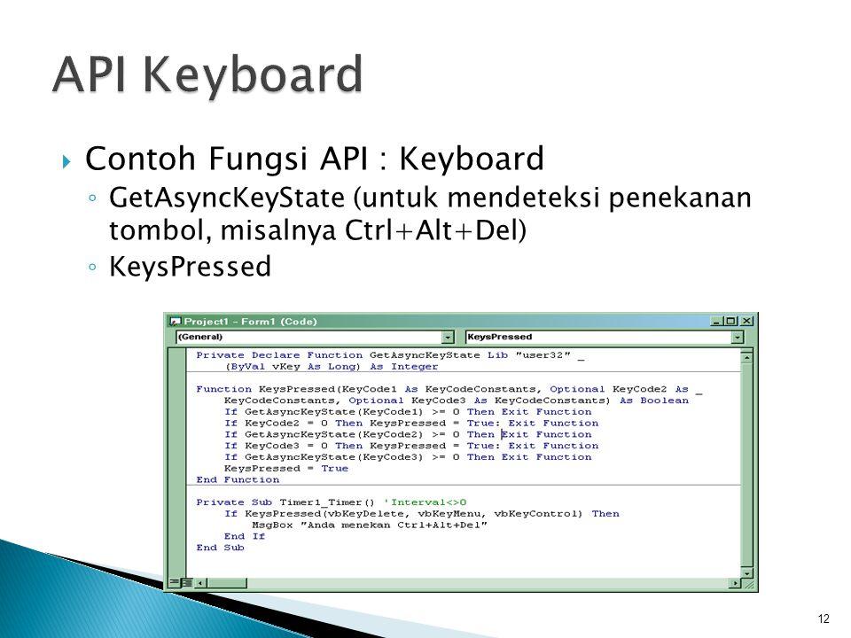 API Keyboard Contoh Fungsi API : Keyboard