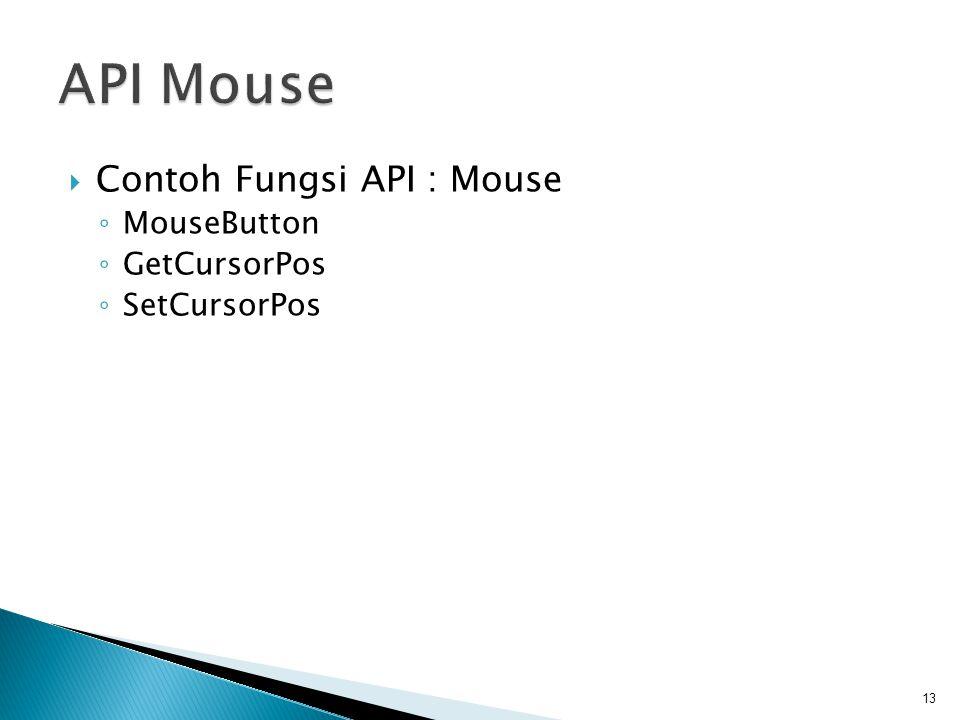API Mouse Contoh Fungsi API : Mouse MouseButton GetCursorPos