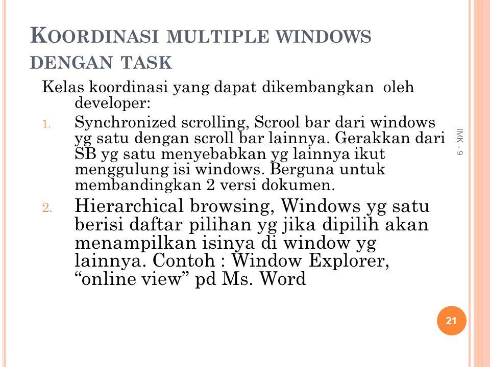 Koordinasi multiple windows dengan task